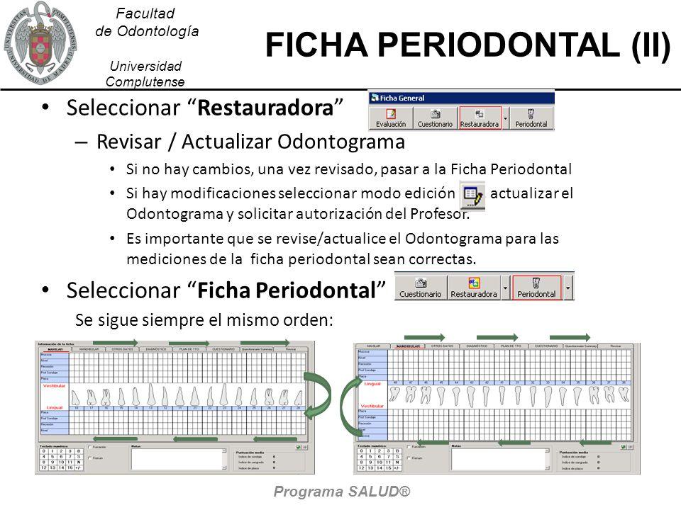 Facultad de Odontología Universidad Complutense FICHA PERIODONTAL (II) Seleccionar Restauradora – Revisar / Actualizar Odontograma Si no hay cambios,