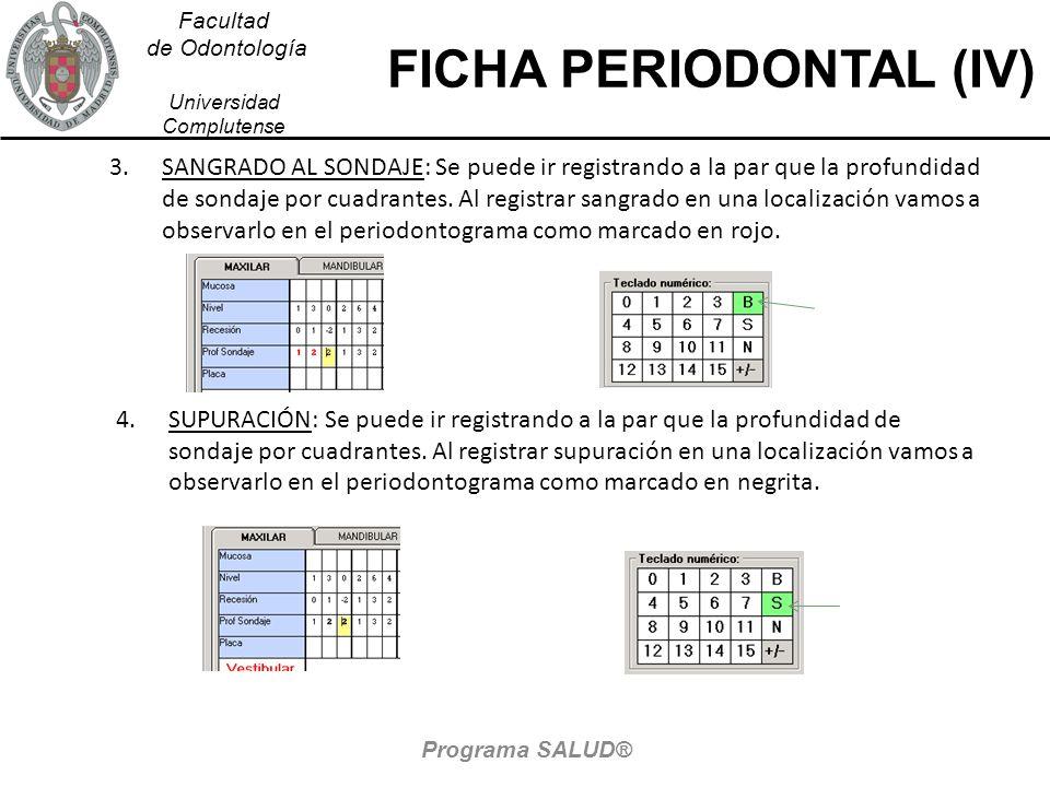 Facultad de Odontología Universidad Complutense FICHA PERIODONTAL (IV) 3.SANGRADO AL SONDAJE: Se puede ir registrando a la par que la profundidad de sondaje por cuadrantes.