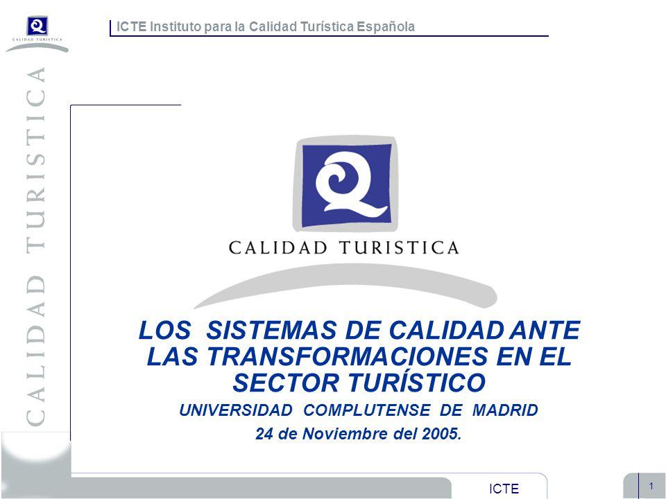 ICTE Instituto para la Calidad Turística Española ICTE 1 Objetivos ICTE Instituto para la Calidad Turística Española LOS SISTEMAS DE CALIDAD ANTE LAS
