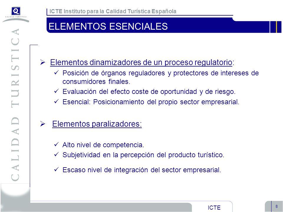 ICTE Instituto para la Calidad Turística Española ICTE 8 ELEMENTOS ESENCIALES Elementos dinamizadores de un proceso regulatorio: Posición de órganos r