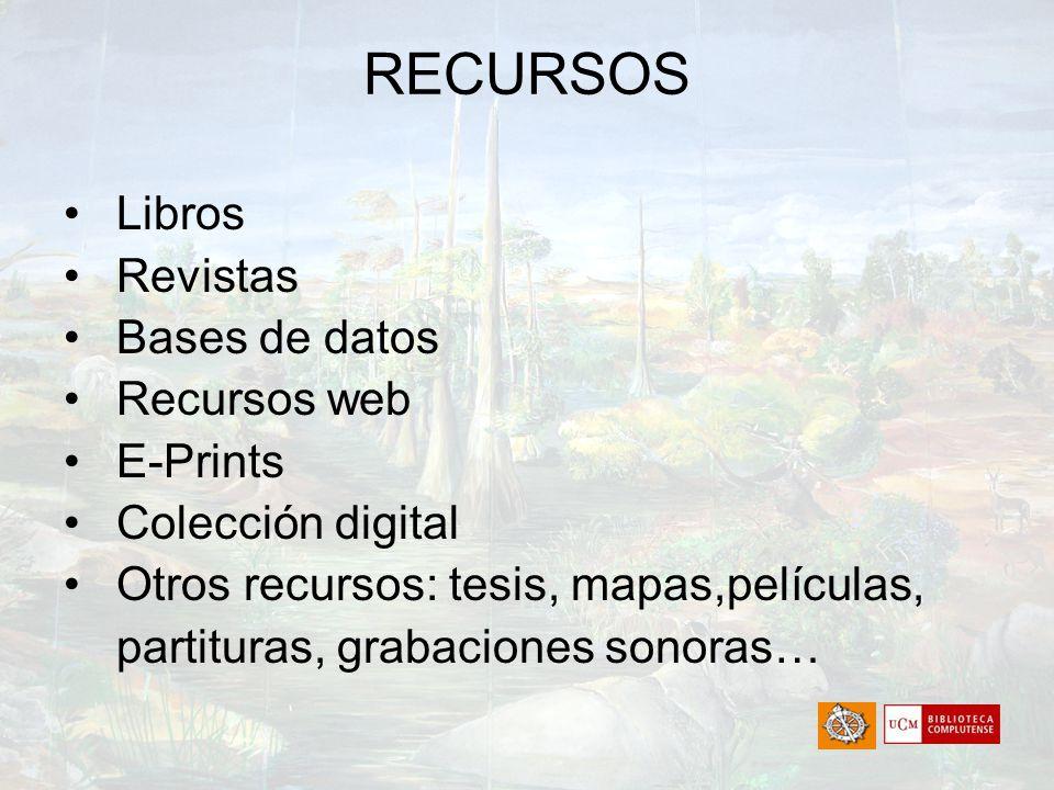 RECURSOS Libros Revistas Bases de datos Recursos web E-Prints Colección digital Otros recursos: tesis, mapas,películas, partituras, grabaciones sonora