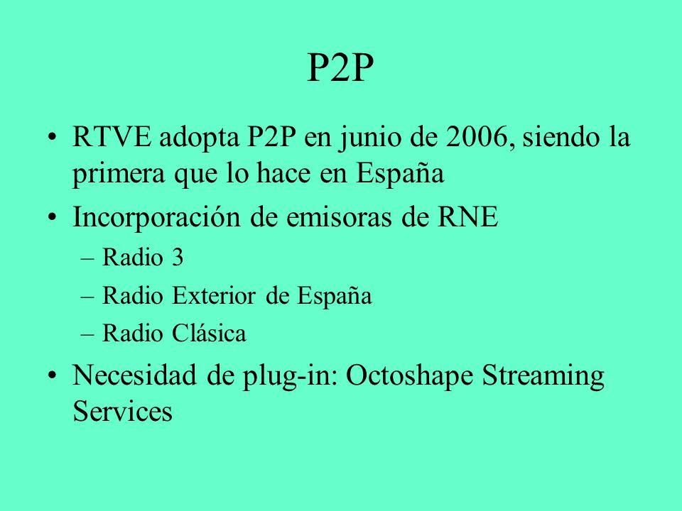 P2P RTVE adopta P2P en junio de 2006, siendo la primera que lo hace en España Incorporación de emisoras de RNE –Radio 3 –Radio Exterior de España –Radio Clásica Necesidad de plug-in: Octoshape Streaming Services