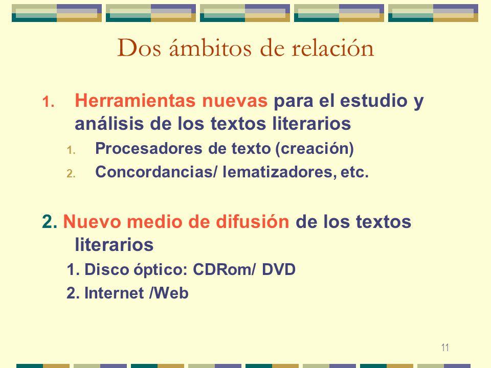 11 Dos ámbitos de relación 1. Herramientas nuevas para el estudio y análisis de los textos literarios 1. Procesadores de texto (creación) 2. Concordan