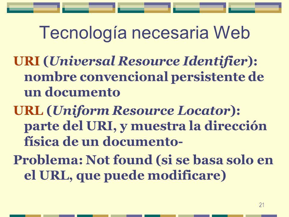 21 Tecnología necesaria Web URI (Universal Resource Identifier): nombre convencional persistente de un documento URL (Uniform Resource Locator): parte