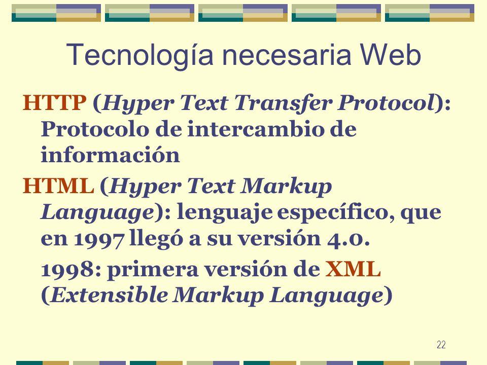 22 Tecnología necesaria Web HTTP (Hyper Text Transfer Protocol): Protocolo de intercambio de información HTML (Hyper Text Markup Language): lenguaje e