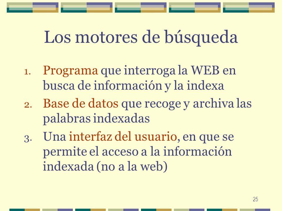 25 Los motores de búsqueda 1. Programa que interroga la WEB en busca de información y la indexa 2. Base de datos que recoge y archiva las palabras ind