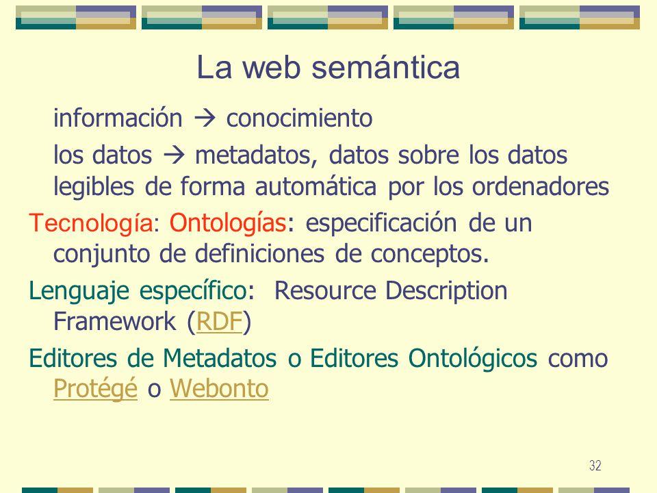 32 La web semántica información conocimiento los datos metadatos, datos sobre los datos legibles de forma automática por los ordenadores Tecnología: O