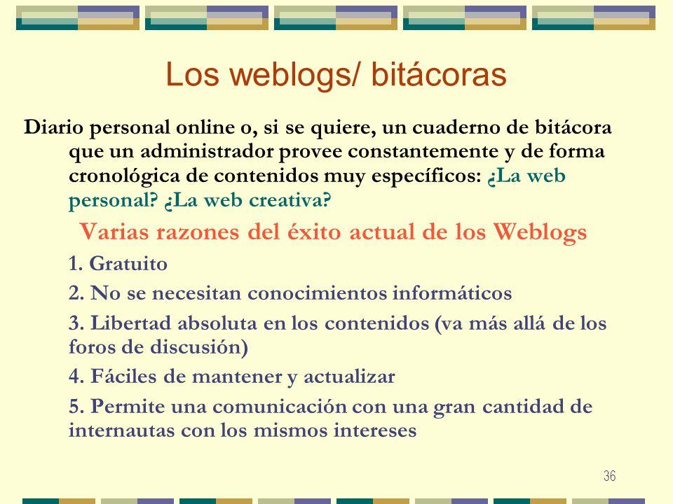 36 Los weblogs/ bitácoras Diario personal online o, si se quiere, un cuaderno de bitácora que un administrador provee constantemente y de forma cronol