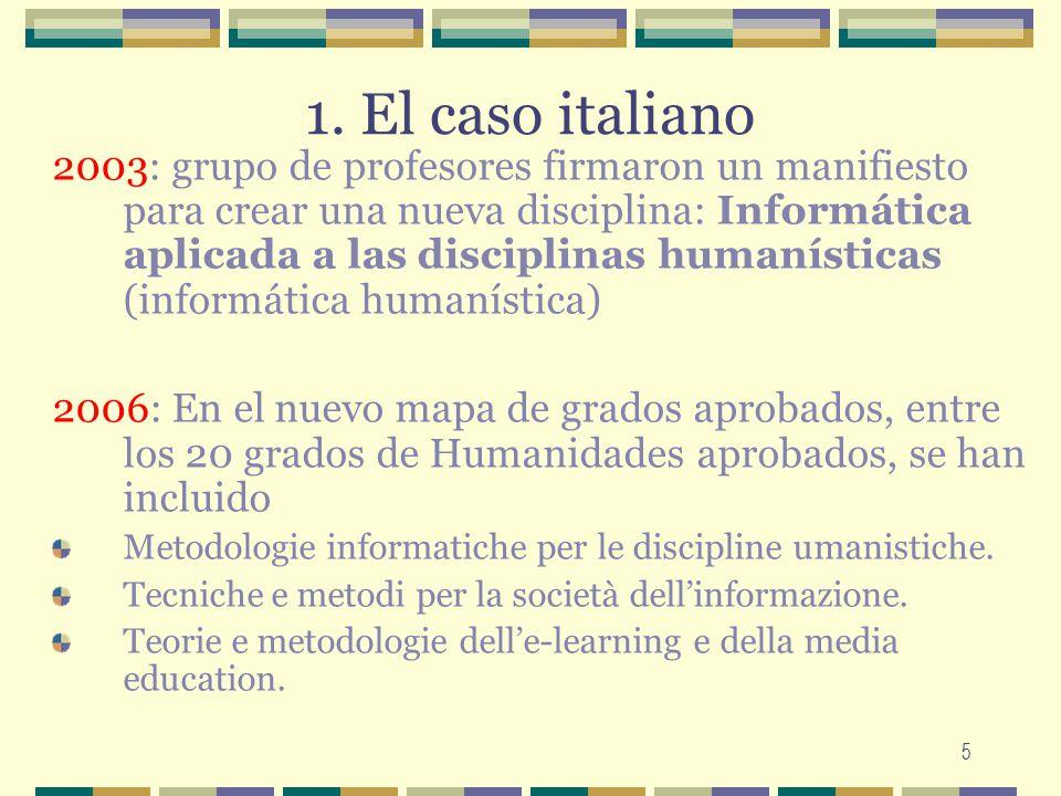 5 1. El caso italiano 2003: grupo de profesores firmaron un manifiesto para crear una nueva disciplina: Informática aplicada a las disciplinas humanís