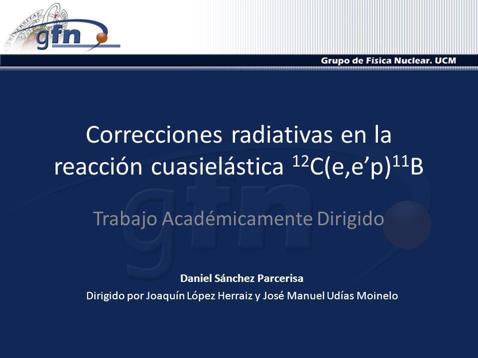 Reacciones (e,ep) 01/07/20092Daniel Sánchez Parcerisa Haz Protones HRSR Electrones HRSL Ángulo 30º con blanco 12 C e e p Detección en coincidencia de e y p Balance de energía (Emiss) Energía de ligadura del protón arrancado Balance de momento (Pmiss) Momento del protón arrancado antes de la interacción Medida de la función de onda en el espacio de momentos s 1/2 p 3/2 p 1/2 12 C 11 B (0+) (1/2-, 3/2-)(3/2-) 1/2 - 2,12 MeV 3/2 - 5,02 MeV 3/2 - Fundamental