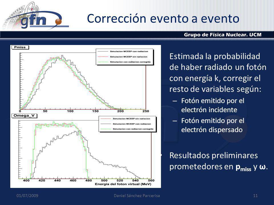Corrección evento a evento Estimada la probabilidad de haber radiado un fotón con energía k, corregir el resto de variables según: – Fotón emitido por