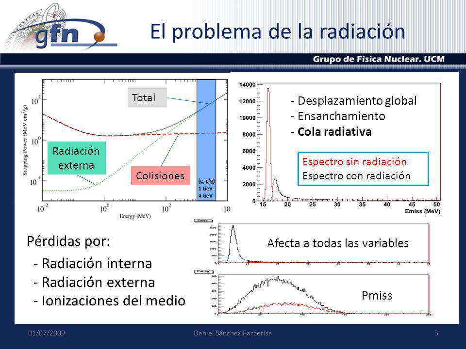 Corrección de la radiación Necesario estudiar el efecto de la radiación en todas las variables cinemáticas.