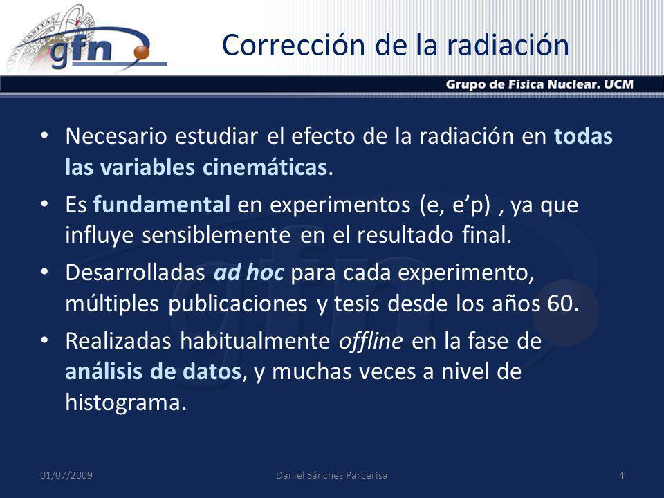 Corrección de la radiación Necesario estudiar el efecto de la radiación en todas las variables cinemáticas. Es fundamental en experimentos (e, ep), ya