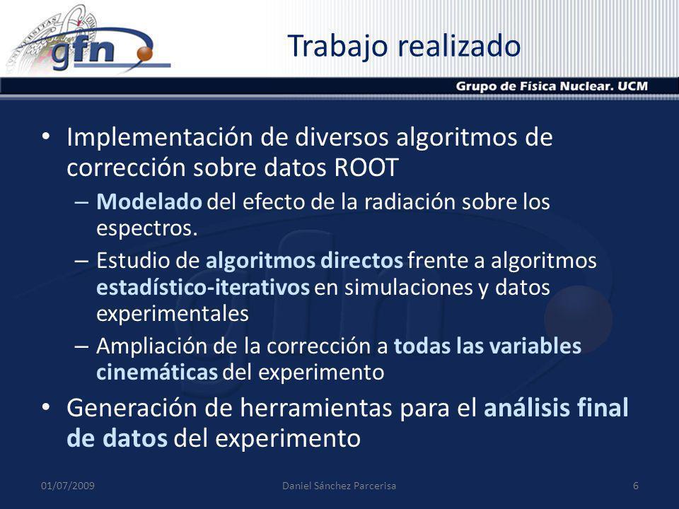 Modelo de radiación 01/07/20097Daniel Sánchez Parcerisa Modelo simplificado de radiación con un parámetro y dependiente de la anchura del bin Buen ajuste del espectro de Emiss La probabilidad decrece con 1/k (energía fotón emitido) El desplazamiento por colisiones se incluye en el modelo