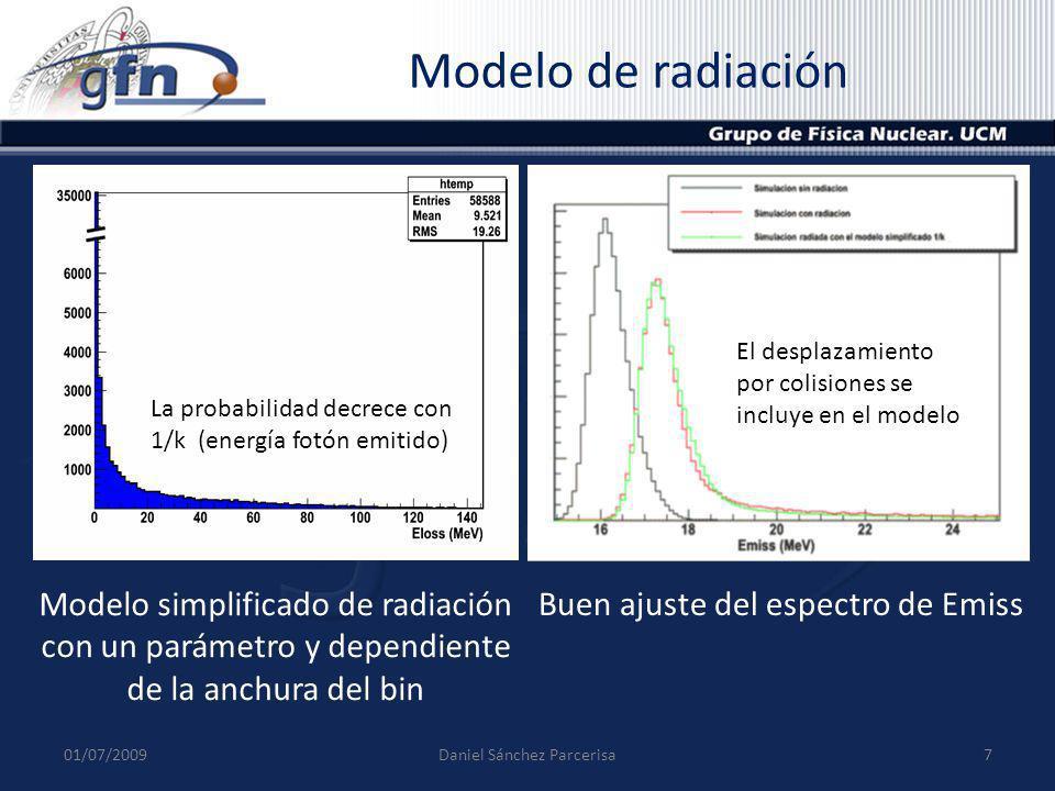 Modelo de radiación 01/07/20097Daniel Sánchez Parcerisa Modelo simplificado de radiación con un parámetro y dependiente de la anchura del bin Buen aju