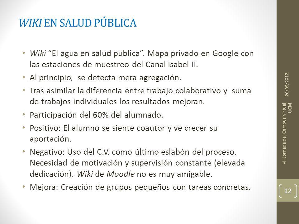 WIKI EN SALUD PÚBLICA Wiki El agua en salud publica. Mapa privado en Google con las estaciones de muestreo del Canal Isabel II. Al principio, se detec