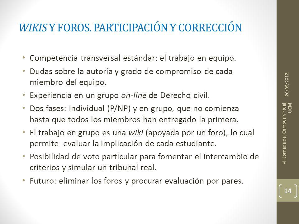 WIKIS Y FOROS. PARTICIPACIÓN Y CORRECCIÓN Competencia transversal estándar: el trabajo en equipo. Dudas sobre la autoría y grado de compromiso de cada