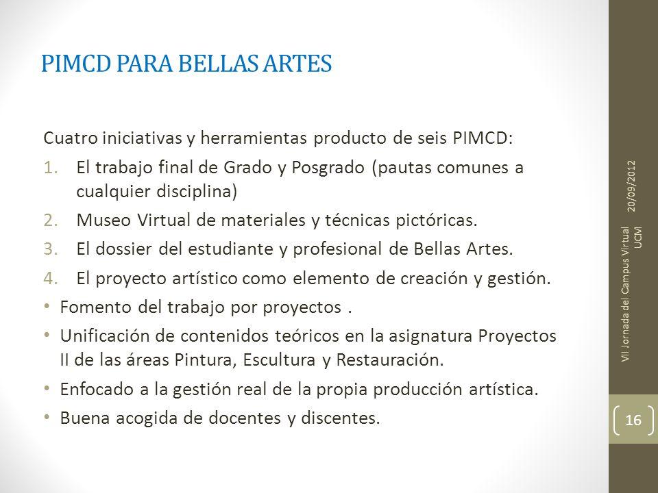 PIMCD PARA BELLAS ARTES Cuatro iniciativas y herramientas producto de seis PIMCD: 1.El trabajo final de Grado y Posgrado (pautas comunes a cualquier disciplina) 2.Museo Virtual de materiales y técnicas pictóricas.