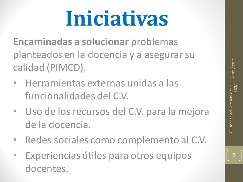 Iniciativas Encaminadas a solucionar problemas planteados en la docencia y a asegurar su calidad (PIMCD).