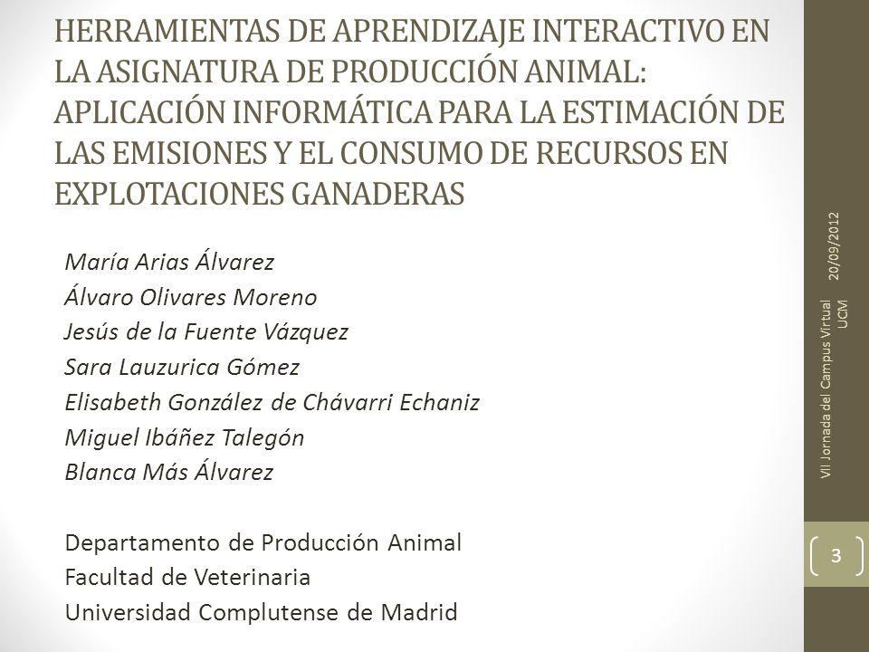 HERRAMIENTAS DE APRENDIZAJE INTERACTIVO EN LA ASIGNATURA DE PRODUCCIÓN ANIMAL: APLICACIÓN INFORMÁTICA PARA LA ESTIMACIÓN DE LAS EMISIONES Y EL CONSUMO