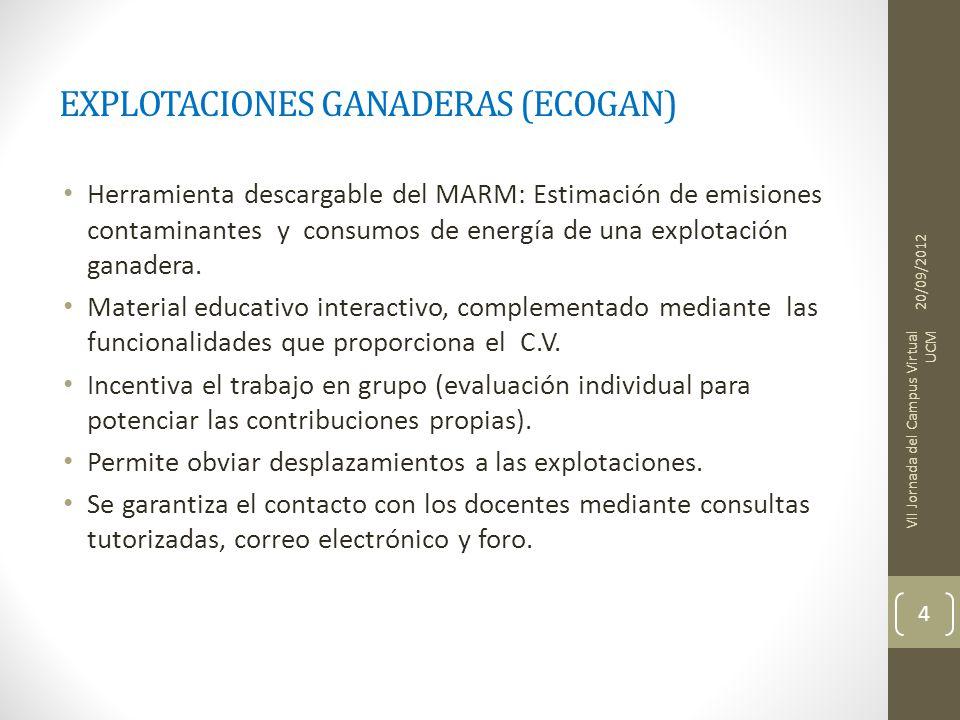 EXPLOTACIONES GANADERAS (ECOGAN) Herramienta descargable del MARM: Estimación de emisiones contaminantes y consumos de energía de una explotación ganadera.