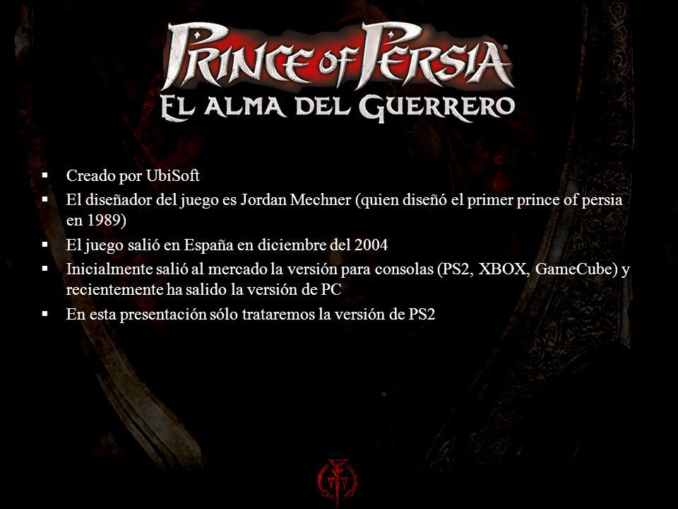 Creado por UbiSoft El diseñador del juego es Jordan Mechner (quien diseñó el primer prince of persia en 1989) El juego salió en España en diciembre del 2004 Inicialmente salió al mercado la versión para consolas (PS2, XBOX, GameCube) y recientemente ha salido la versión de PC En esta presentación sólo trataremos la versión de PS2