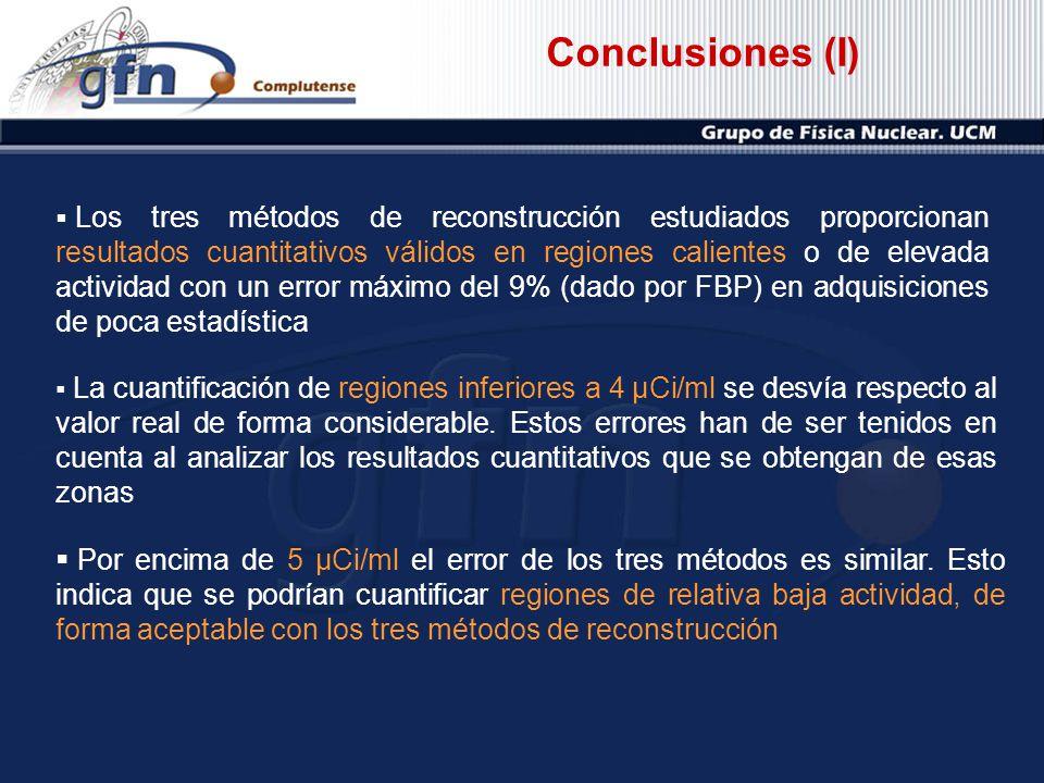 Conclusiones (I) Los tres métodos de reconstrucción estudiados proporcionan resultados cuantitativos válidos en regiones calientes o de elevada activi