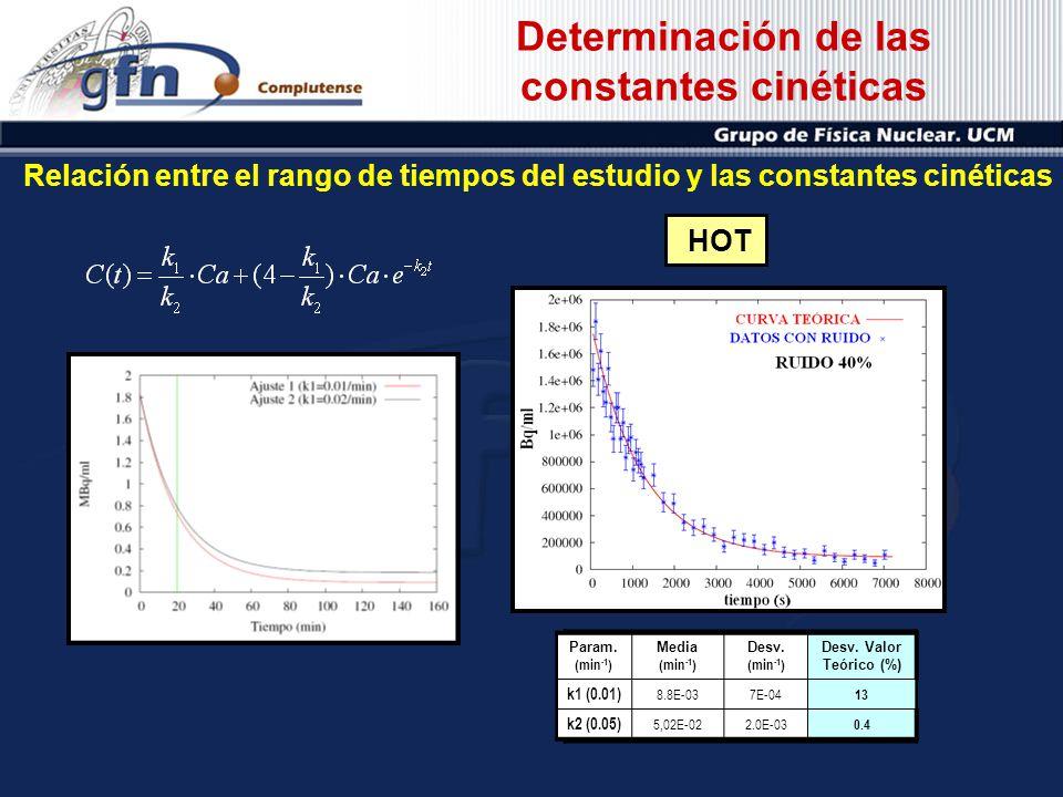 Determinación de las constantes cinéticas Relación entre el rango de tiempos del estudio y las constantes cinéticas Param (min -1 ) Media (min -1 ) De