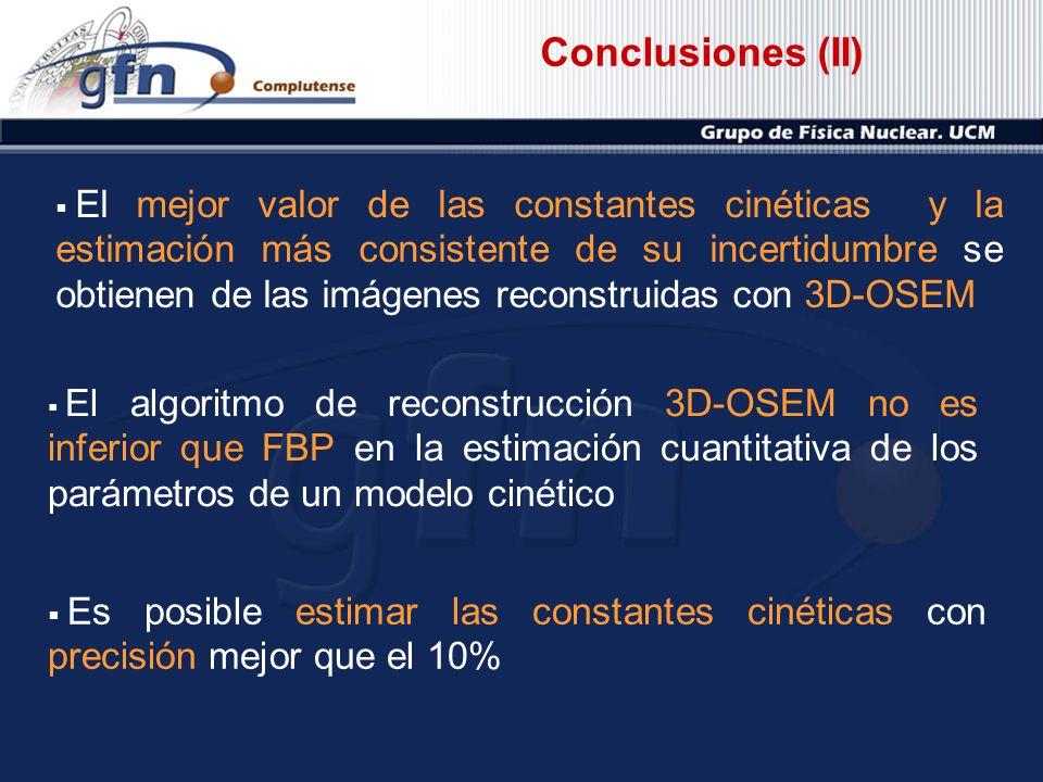 Conclusiones (II) El algoritmo de reconstrucción 3D-OSEM no es inferior que FBP en la estimación cuantitativa de los parámetros de un modelo cinético