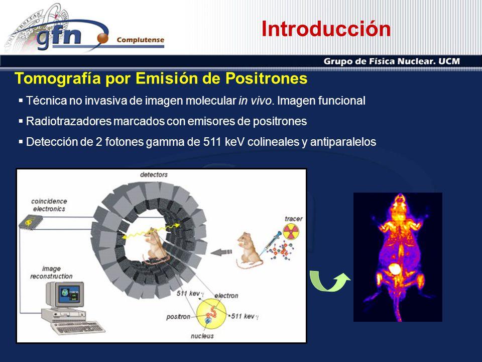 Introducción Tomografía por Emisión de Positrones Técnica no invasiva de imagen molecular in vivo. Imagen funcional Radiotrazadores marcados con emiso