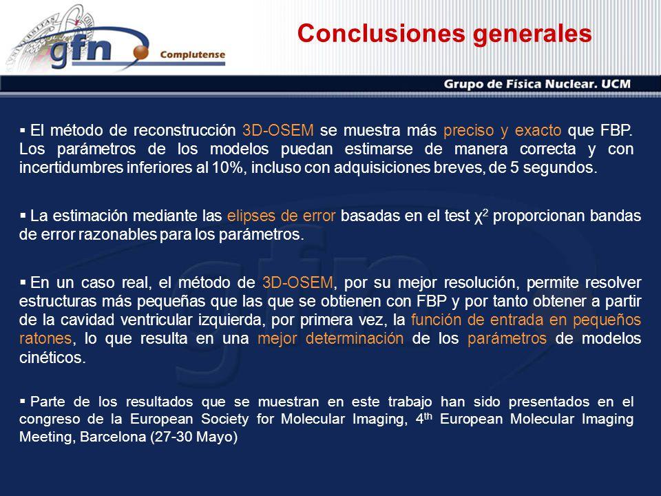 Conclusiones generales La estimación mediante las elipses de error basadas en el test χ 2 proporcionan bandas de error razonables para los parámetros.