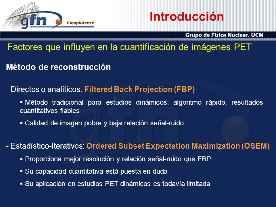 Introducción Método de reconstrucción - Directos o analíticos: Filtered Back Projection (FBP) Método tradicional para estudios dinámicos: algoritmo rá