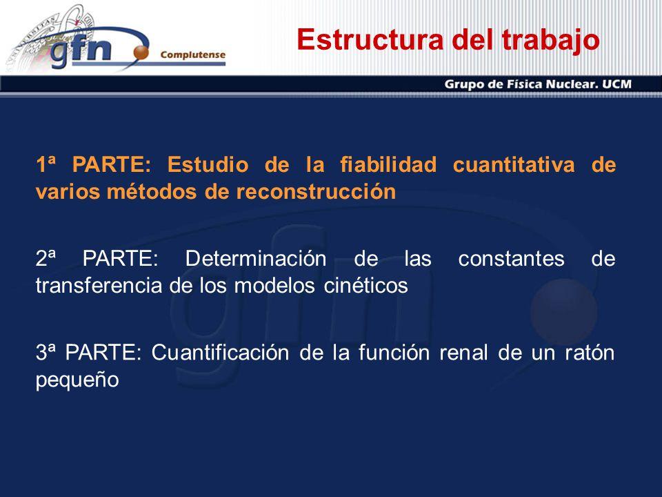 1ª PARTE: Estudio de la fiabilidad cuantitativa de varios métodos de reconstrucción 2ª PARTE: Determinación de las constantes de transferencia de los
