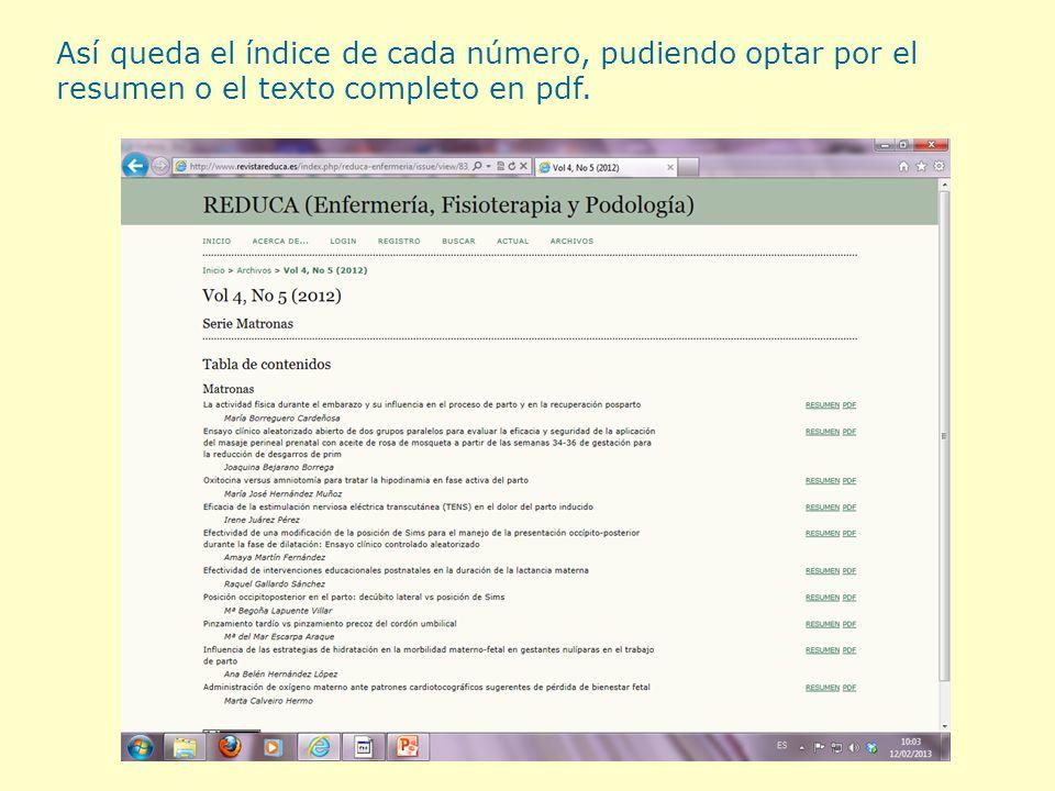 Así queda el índice de cada número, pudiendo optar por el resumen o el texto completo en pdf.