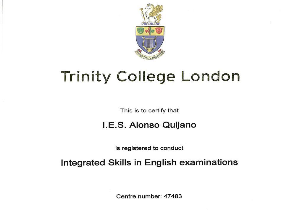 TRINITY COLLEGE LONDON B1: ISE1 (Integrate Skills in English) Estructura del examen: Parte 2: examen escrito (90 minutos) 30% El alumno realizará 2 tareas: a.