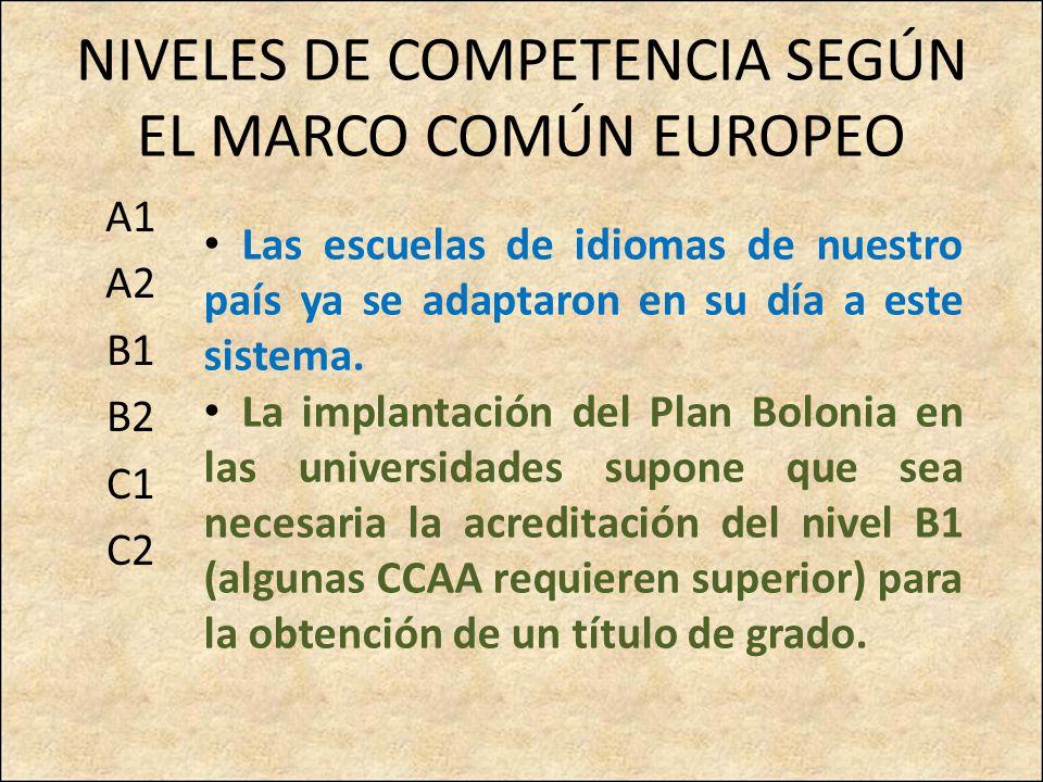 NIVELES DE COMPETENCIA SEGÚN EL MARCO COMÚN EUROPEO A1 A2 B1 B2 C1 C2 Las escuelas de idiomas de nuestro país ya se adaptaron en su día a este sistema.