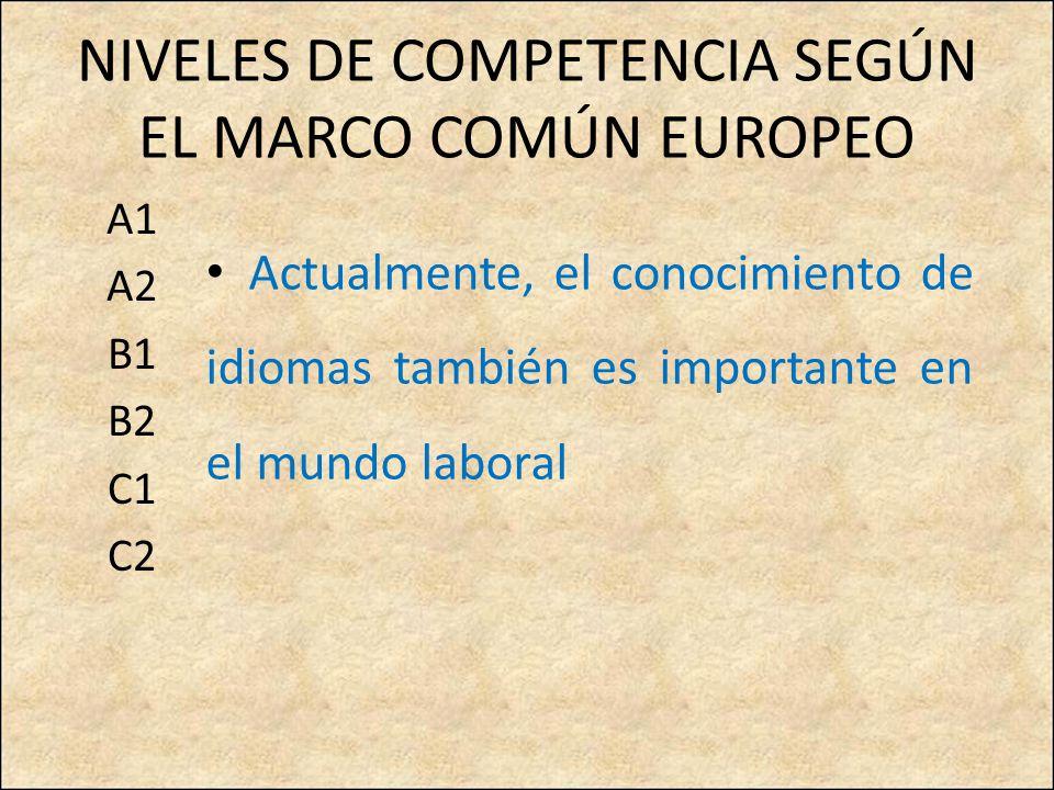 NIVELES DE COMPETENCIA SEGÚN EL MARCO COMÚN EUROPEO A1 A2 B1 B2 C1 C2 Actualmente, el conocimiento de idiomas también es importante en el mundo laboral