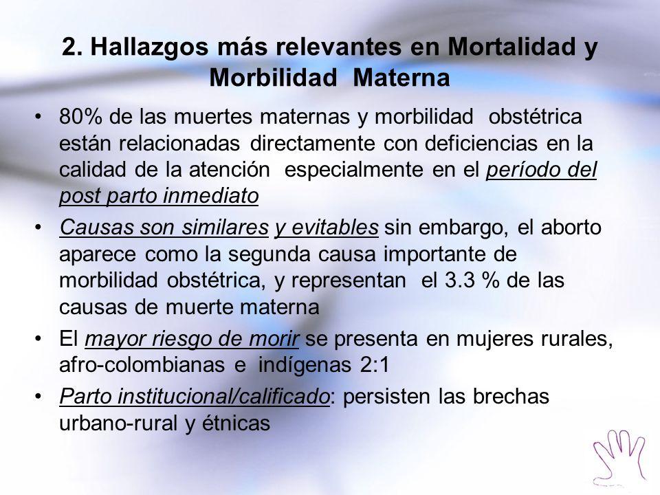 2. Hallazgos más relevantes en Mortalidad y Morbilidad Materna 80% de las muertes maternas y morbilidad obstétrica están relacionadas directamente con