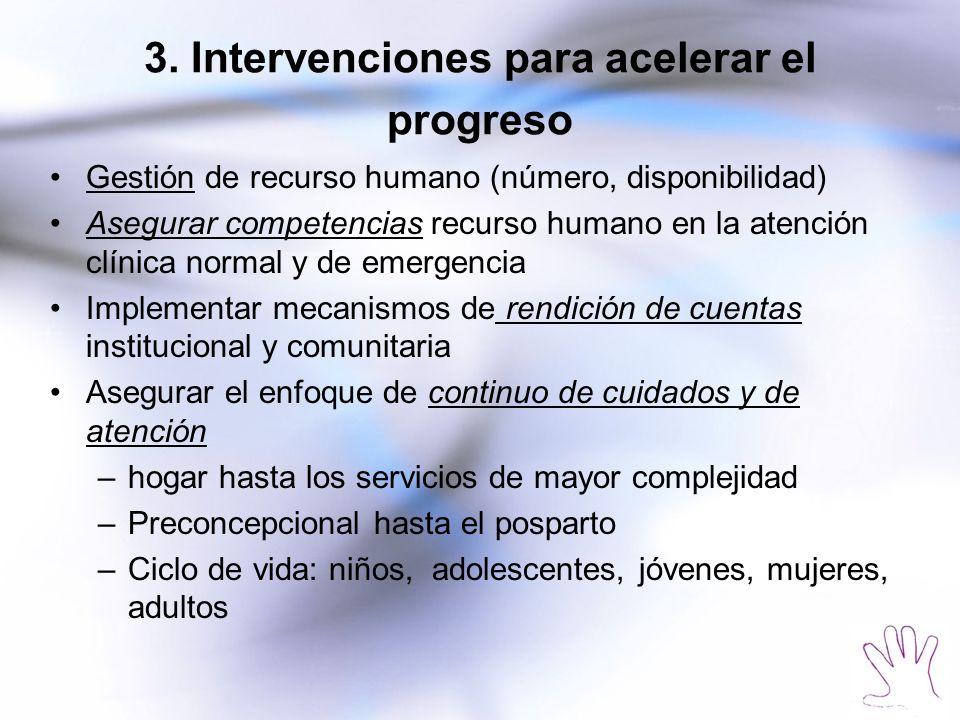 3. Intervenciones para acelerar el progreso Gestión de recurso humano (número, disponibilidad) Asegurar competencias recurso humano en la atención clí