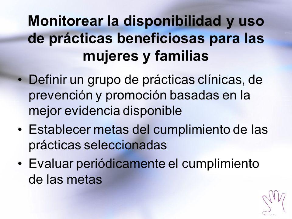 Monitorear la disponibilidad y uso de prácticas beneficiosas para las mujeres y familias Definir un grupo de prácticas clínicas, de prevención y promo