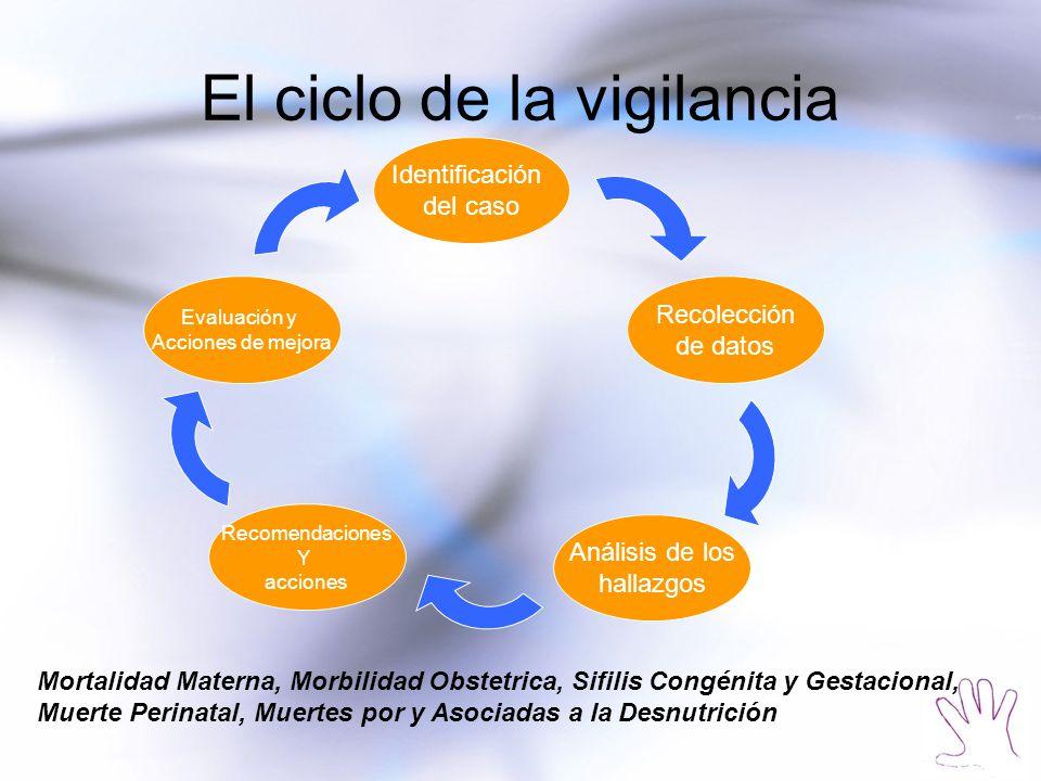 El ciclo de la vigilancia Identificación del caso Recolección de datos Análisis de los hallazgos Recomendaciones Y acciones Evaluación y Acciones de m