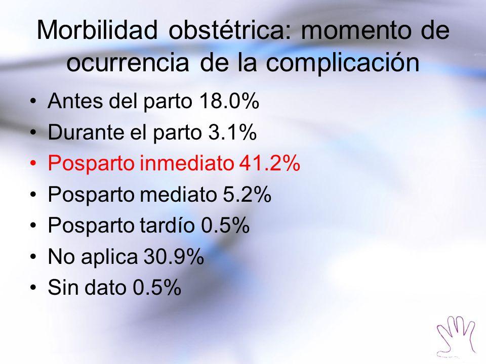 Morbilidad obstétrica: momento de ocurrencia de la complicación Antes del parto 18.0% Durante el parto 3.1% Posparto inmediato 41.2% Posparto mediato