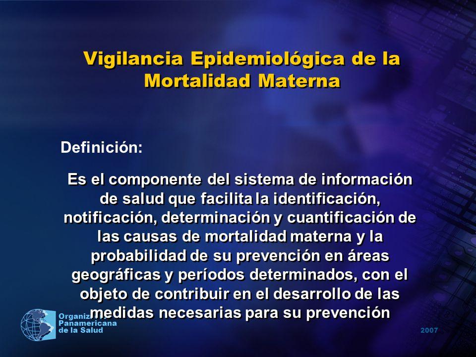2007 Organización Panamericana de la Salud Vigilancia Epidemiológica de la Mortalidad Materna Es el componente del sistema de información de salud que