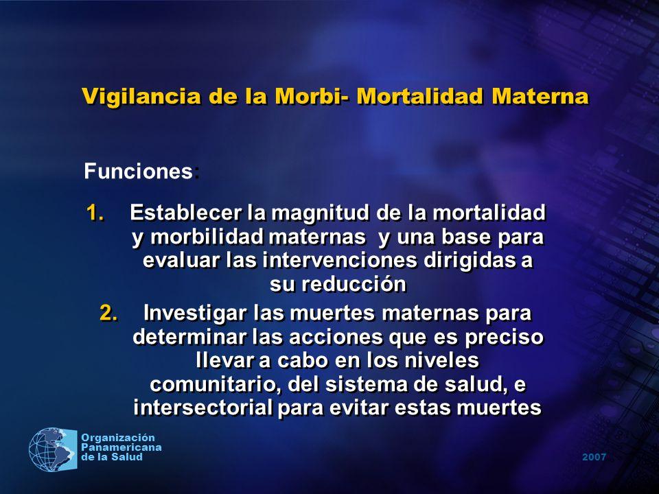 2007 Organización Panamericana de la Salud Vigilancia de la Morbi- Mortalidad Materna 1.Establecer la magnitud de la mortalidad y morbilidad maternas