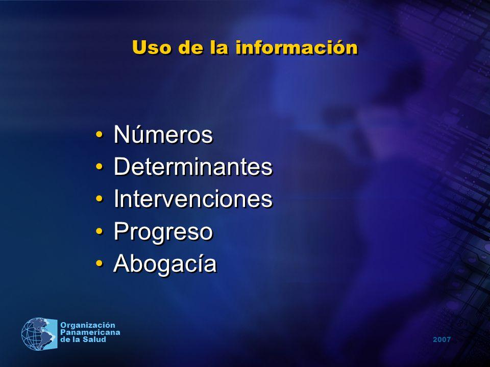 2007 Organización Panamericana de la Salud Uso de la información Números Determinantes Intervenciones Progreso Abogacía Números Determinantes Interven