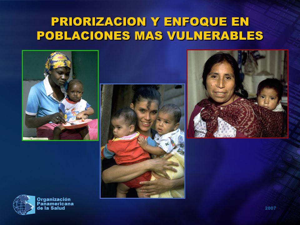 2007 Organización Panamericana de la Salud PRIORIZACION Y ENFOQUE EN POBLACIONES MAS VULNERABLES