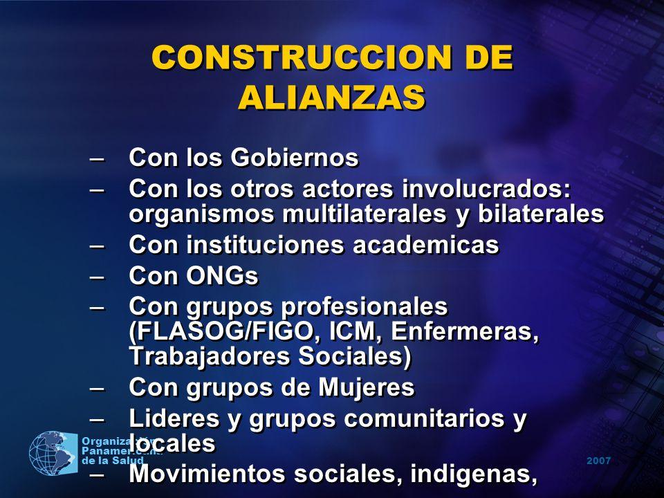 2007 Organización Panamericana de la Salud CONSTRUCCION DE ALIANZAS –Con los Gobiernos –Con los otros actores involucrados: organismos multilaterales