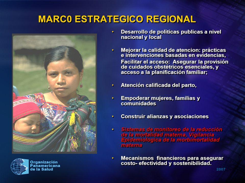 2007 Organización Panamericana de la Salud MARC0 ESTRATEGICO REGIONAL Desarrollo de politicas publicas a nivel nacional y local Mejorar la calidad de
