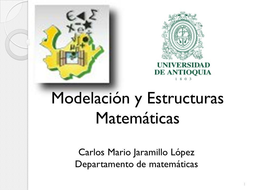 1 Carlos Mario Jaramillo López Departamento de Matemáticas Universidad de Antioquia Carlos Mario Jaramillo López Departamento de matemáticas Modelació