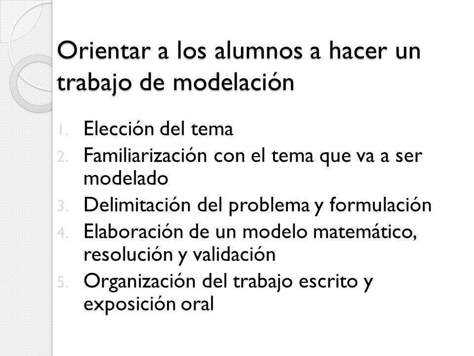 Orientar a los alumnos a hacer un trabajo de modelación 1. Elección del tema 2. Familiarización con el tema que va a ser modelado 3. Delimitación del